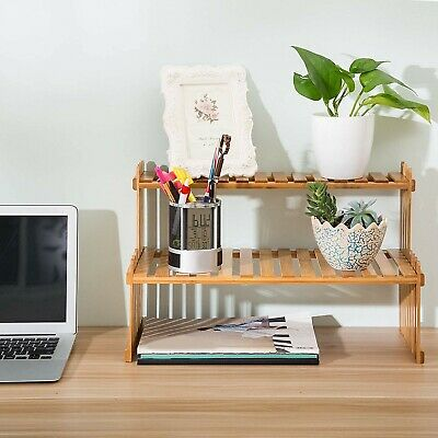 Tabletop Shelf Plant Stand Organizer Display Wooden 2 Tier Desktop Bamboo Rack In 2020 Desktop Shelf Wooden Plant Stands Plant Stand