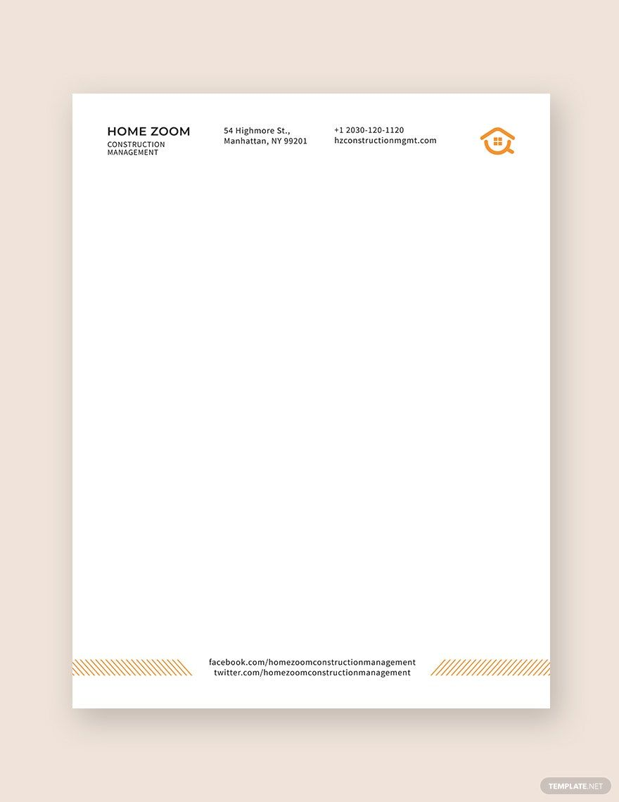 Construction Management Letterhead Template Word Doc Psd Indesign Apple Mac Pages Illustrator Publisher Letterhead Template Letterhead Template Word Letterhead