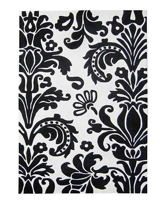 Black White Damask Rug With Images