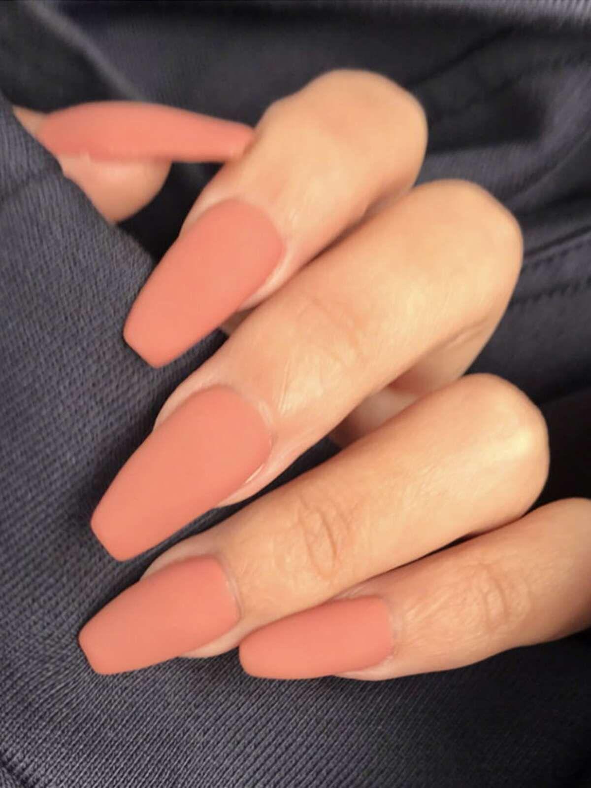 24pcs Plain Fake Nails 1pc Double Sided Tape Plain Acrylic Nails Nail Tips Nail Manicure