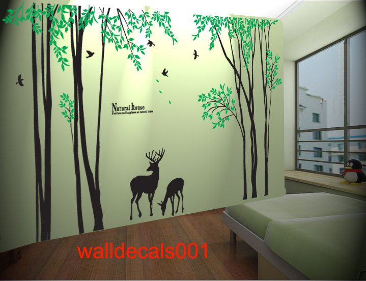 Vinyl Tree Wall Decal Wall sticker kids decal birds decal deer decal Nature  room decor graphic. Vinyl Tree Wall Decal Wall sticker birds decal deer decal Nature