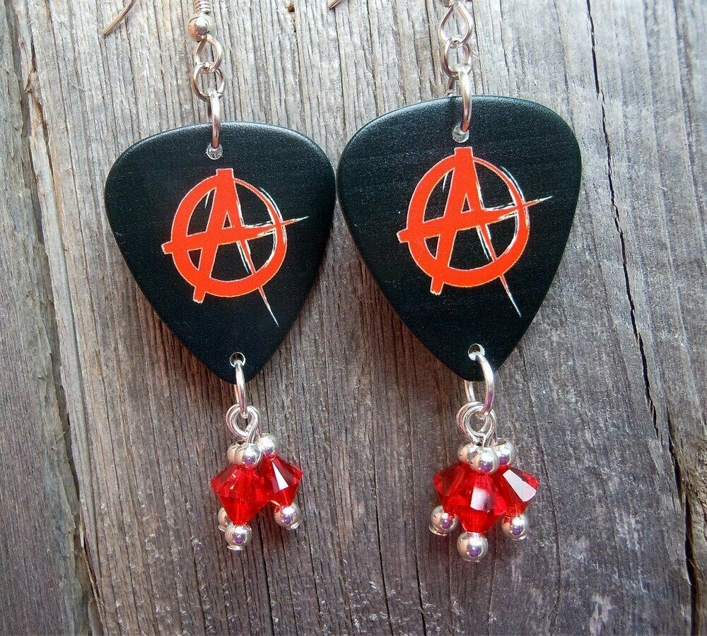 Red And Black Anarchy Guitar Pick Earrings With Red Swarovski Crystal Dangles Ebay Guitar Picks Swarovski Crystals Guitar Pick