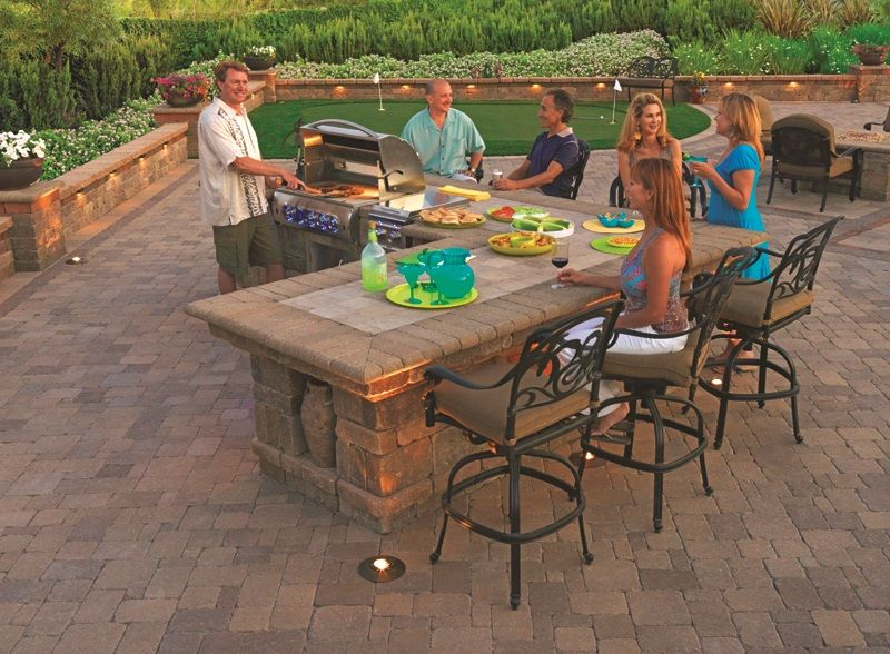 BBQ Island Patio Retaining Wall Putting Green Fire Pit By - Design ideas for backyard bbq patios