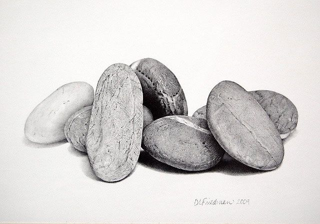 graphite drawings, colored pencil, stones, still-life ... Drawing Of A Stone