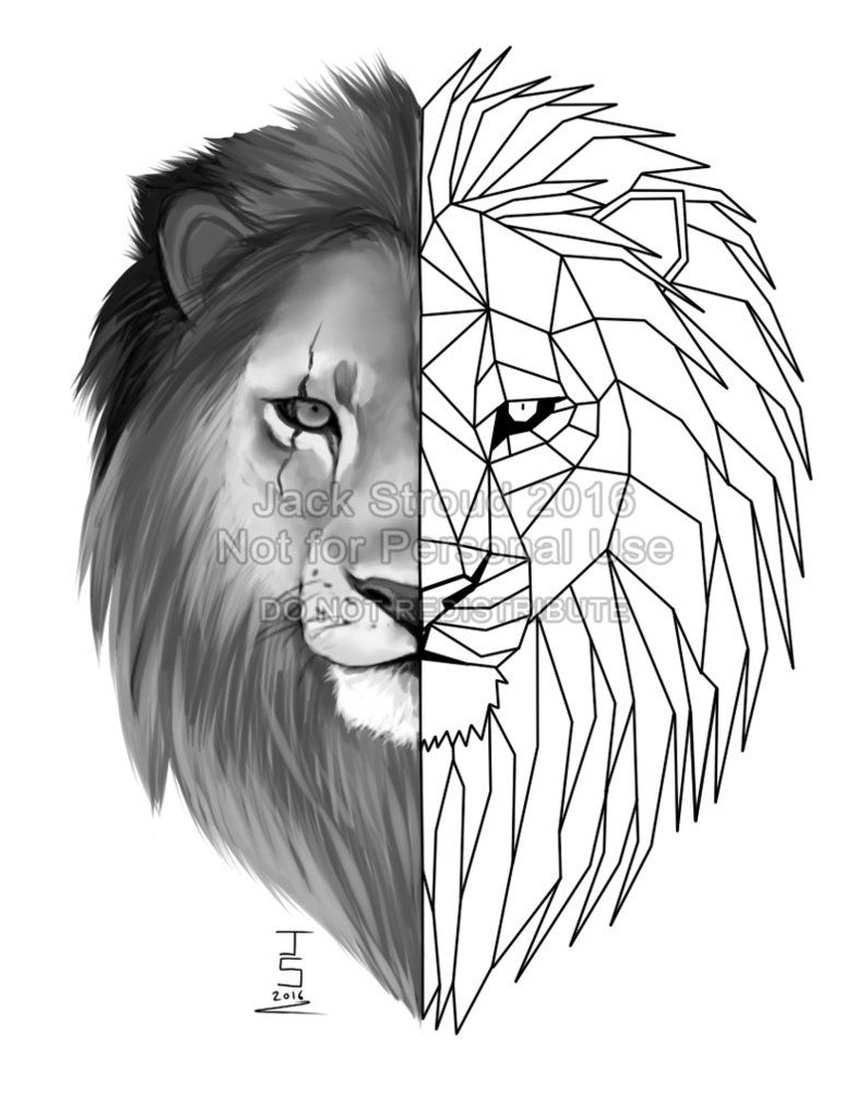 18b506e5667e0 Geometric Lion Tattoo by BritishViper.deviantart.com on @DeviantArt ...