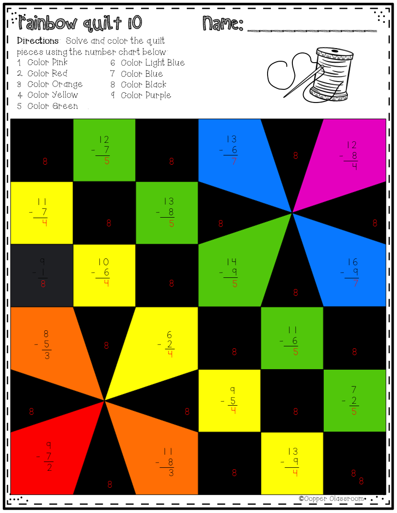 Basic Subtraction Facts Color By Code Math Quilts | Maths