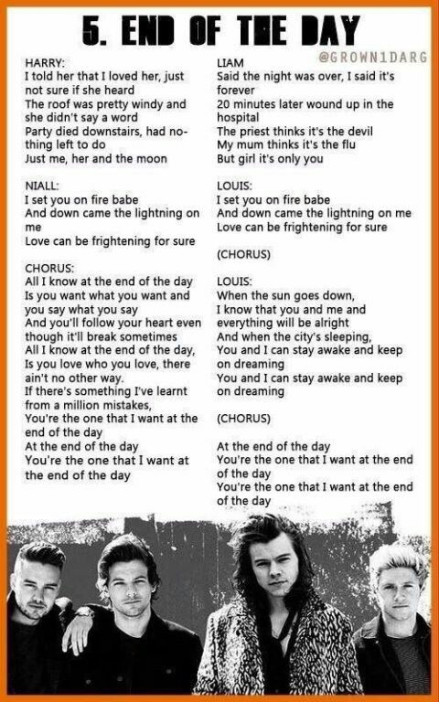 End Of The Day One Direction Lyrics Madeintheam