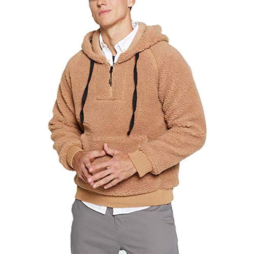 Annstar Männer warme Flauschige Hoodie Casual Sweatshirt
