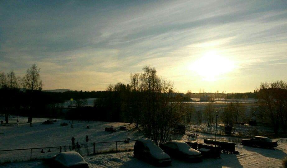 Sunset in January 2016  2.30PM  Brennsmork 5,2074 Eidsvoll Verk
