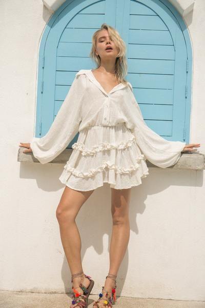 55f97c0594f La Confection - Willow - Long Sleeve White Linen Dress – Tropicanaonline
