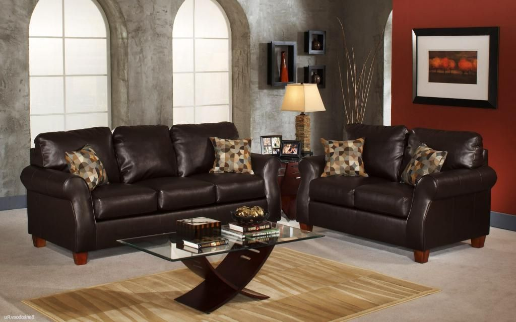 stunning dark brown leather sofa in elegant living room with glass ...