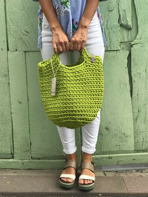 Crochet Tote Bag gestrickte Handtasche SPRING GREEN Farbe #crochethandbags