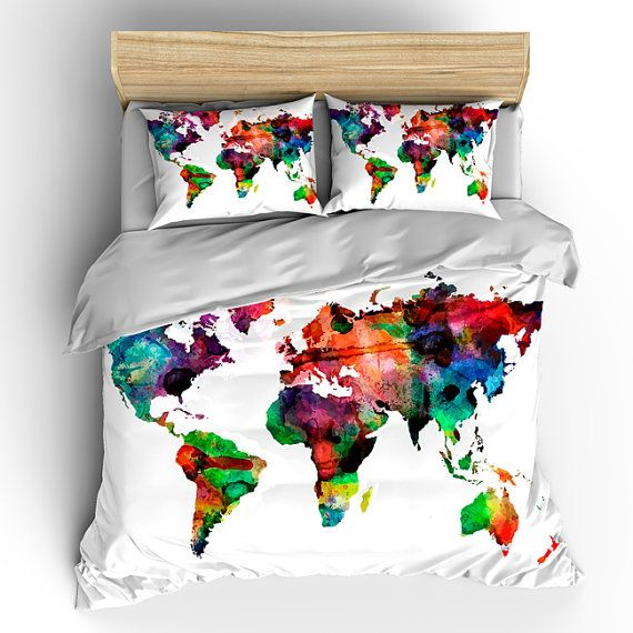 Custom bedding duvet cover watercolors on white world map tw qu custom bedding duvet cover watercolors on white world map available twin queen or gumiabroncs Image collections