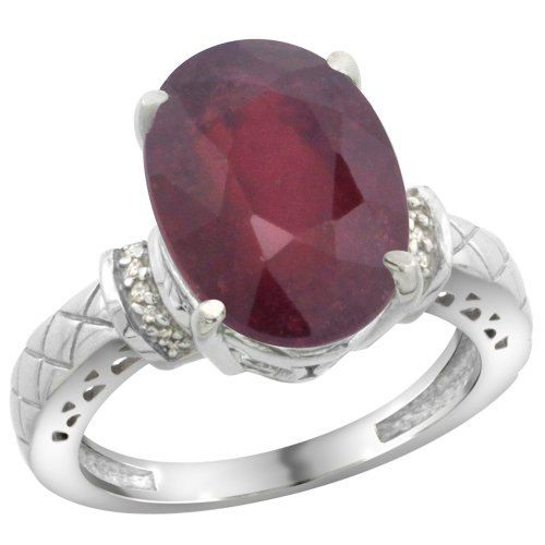 $253.35 USD, Sterling Silver Diamond Natural Enhanced Ruby Ring by WorldJewels