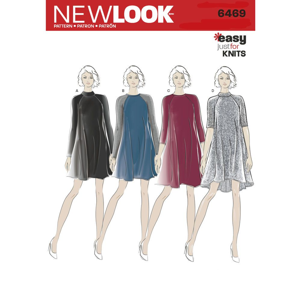 Misses\' knit dresses with raglan sleeve can be mini length with ...
