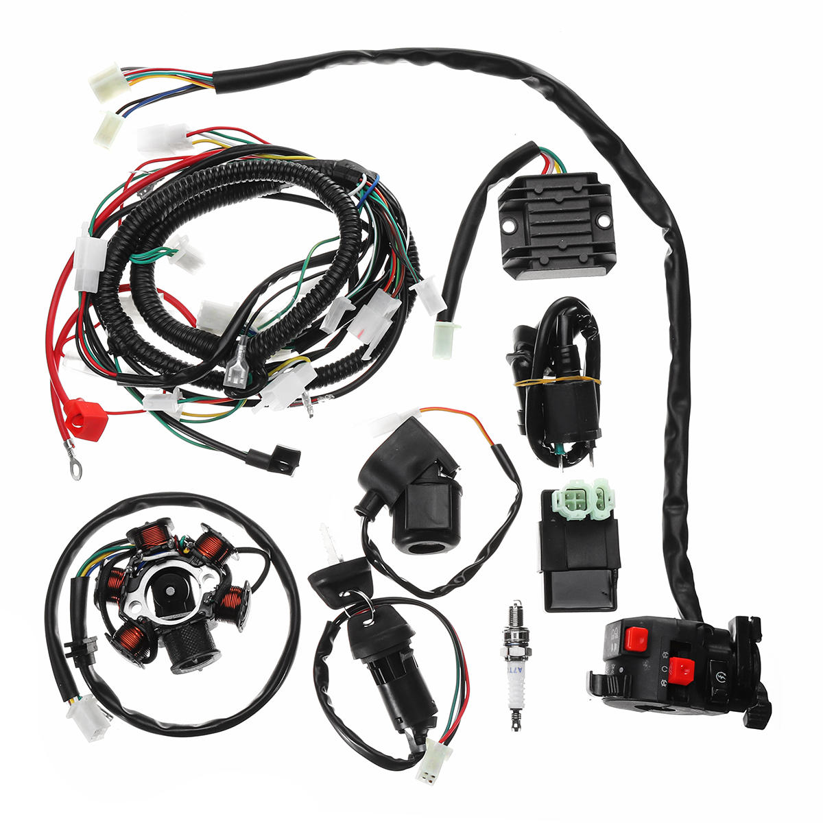 hight resolution of full electrics wiring harness loom cdi coil for gy6 150cc atv quad go kart buggy