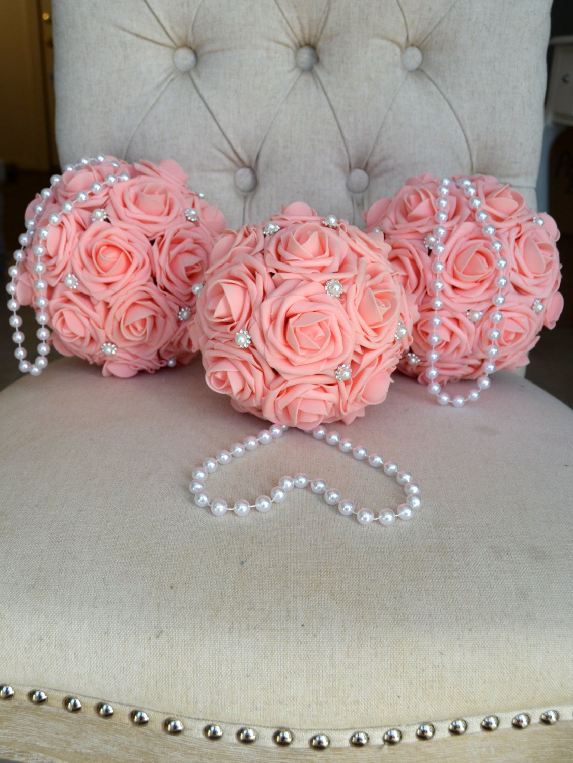 PINK Flower Ball with brooch & pearl handle. Wedding Decor. Flower ...