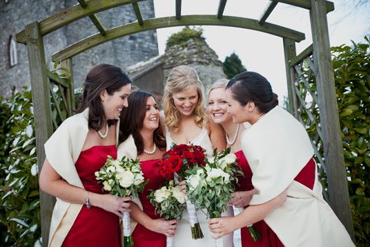 Bridesmaids Red Winter Wedding Kildar