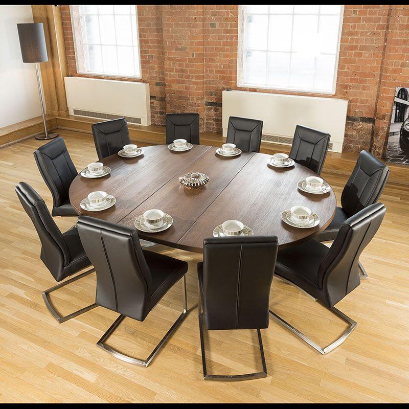 Large Oval 1 8x2 3m Dark Brown Oak Dining Table 10 Deep Black