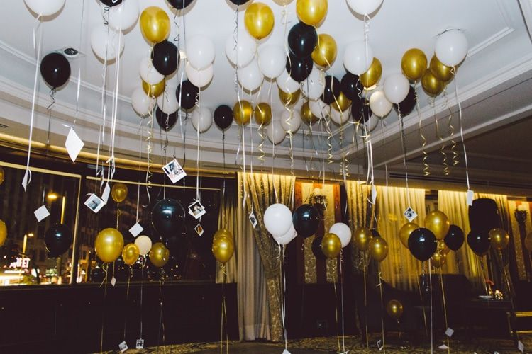 Helium Balloons Polaroid Photos Guests Decor Gold Black White Modern Roof