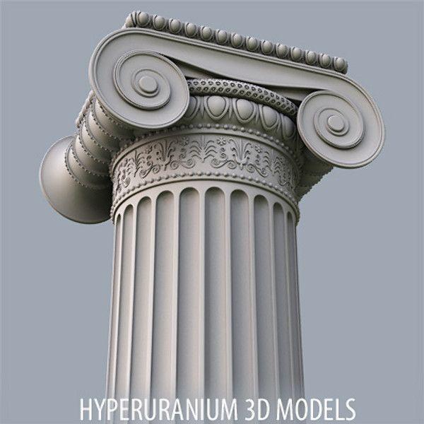 3d ionic column model column wood