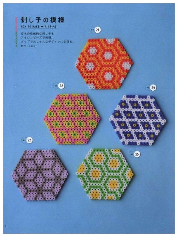 Hexagon designs perler beads   Perler   Pinterest   Plástico y Bolos