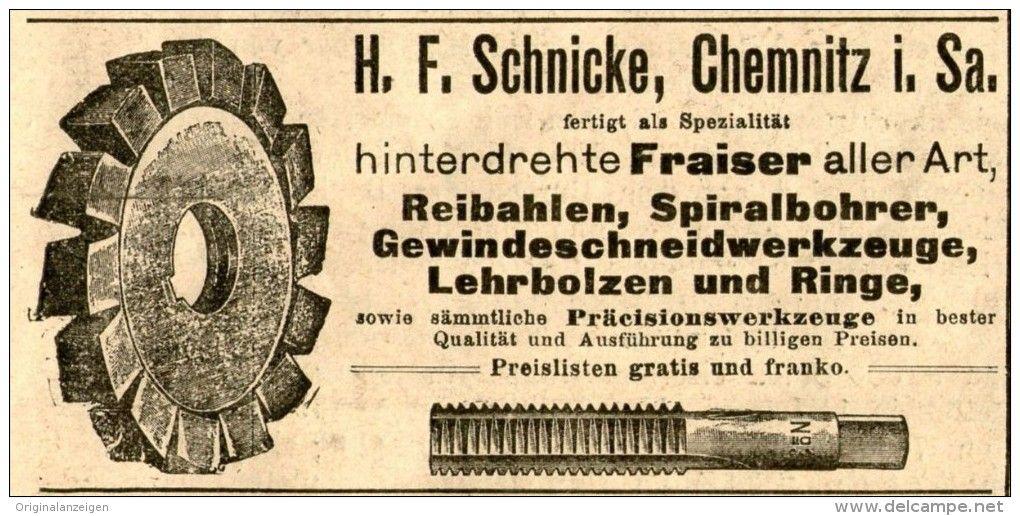 Original-Werbung/ Anzeige 1905 - HINTERDREHTE FRAISER / SCHNICKE CHEMNITZ -  ca. 100 x 50 mm