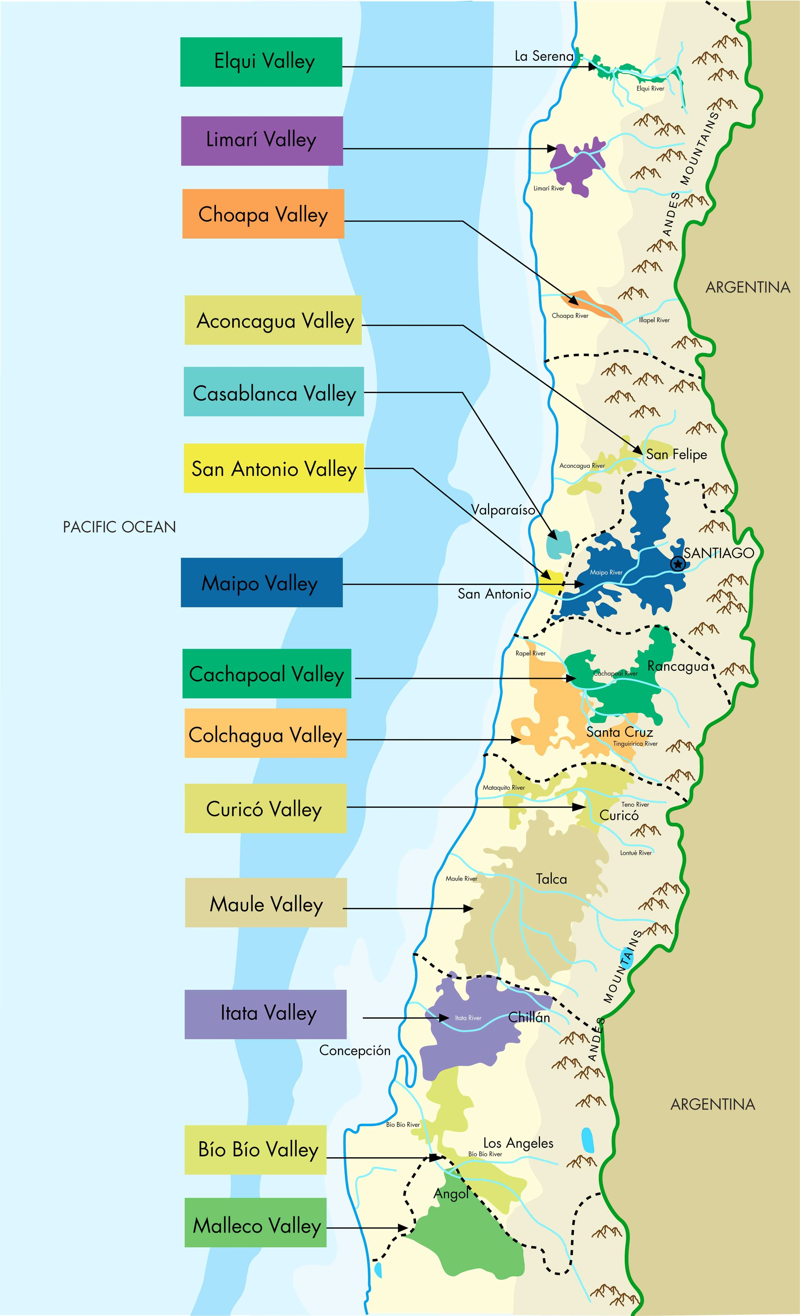 Chilean Wineries Of Chile Smackdown Chilean Reds Blind - Chile regions map