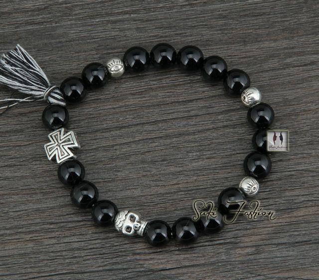 alta qualidade 8mm natural ágata preta com cruz e caveira antigo charme pulseira pedra natural pulseira tibetano jóia da boemia em Pulseira com pingentes de Jóias no AliExpress.com | Alibaba Group