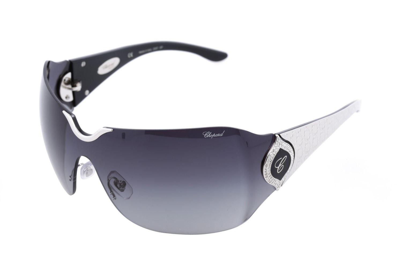 Chopard SCH 883 579 Women Rimless Shield Gray & 23 KT White Gold Plated Sunglasses