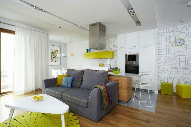 Arredare cucina soggiorno ambiente unico, divano di colore grigio ...