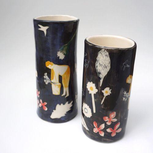 two tall black vases - www.pollyfern.com