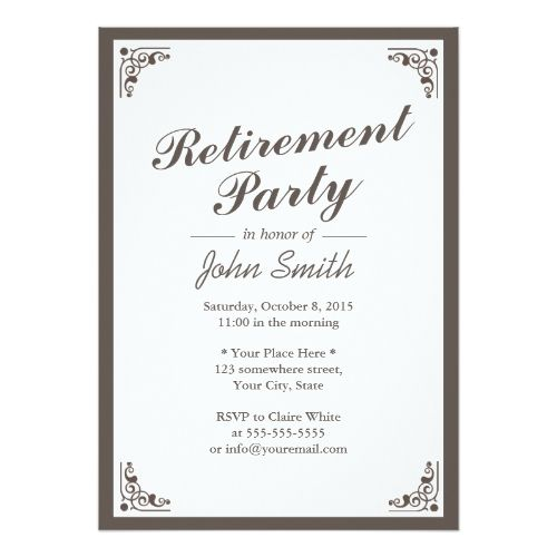 Elegant Art Deco Border Retirement Party Invitation Retirement - retirement party card