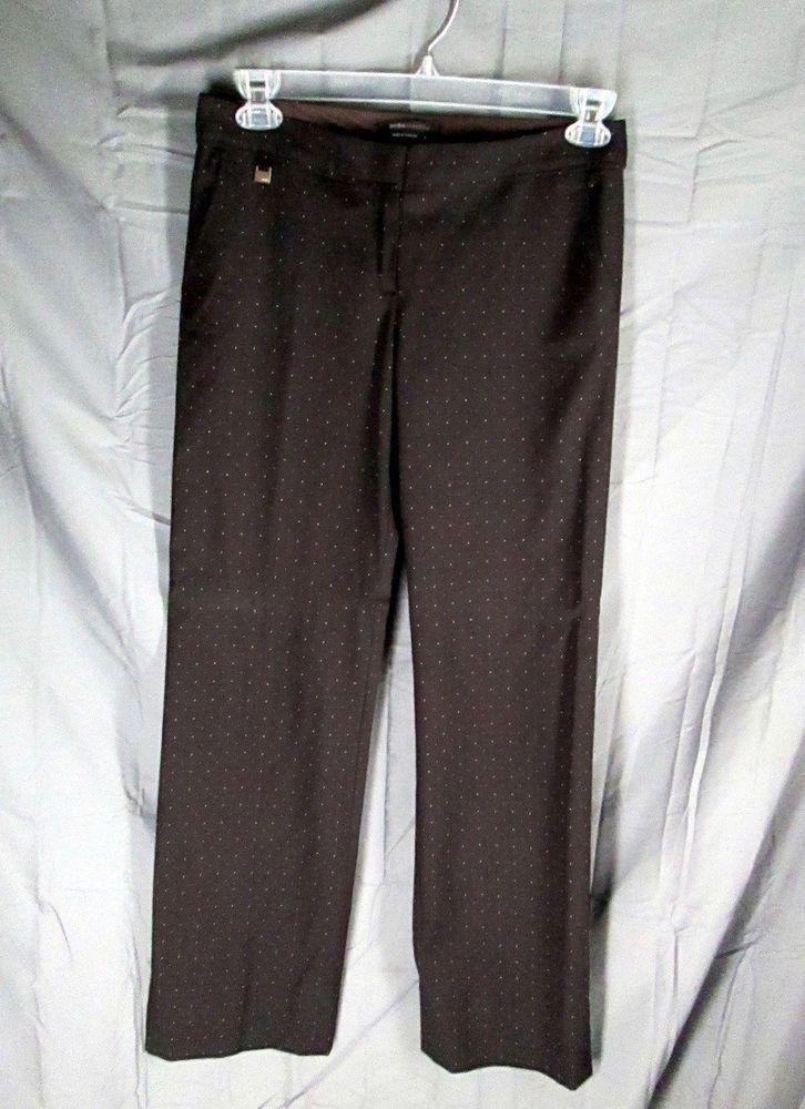 BCBG Max Azria  Wool Blend Brown White Dot Pants 6 #BCBGMAXAZRIA #DressPants