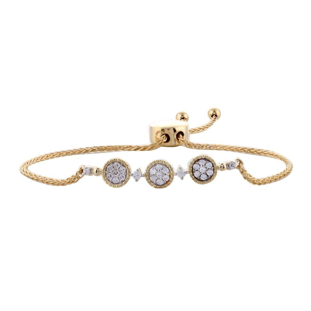 White diamond adjustable bolo bracelet womens k yellow gold ct