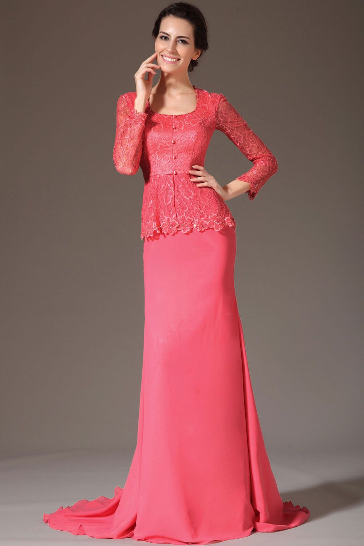 Watermelon floorlength square sheath chiffon long sleeves dress