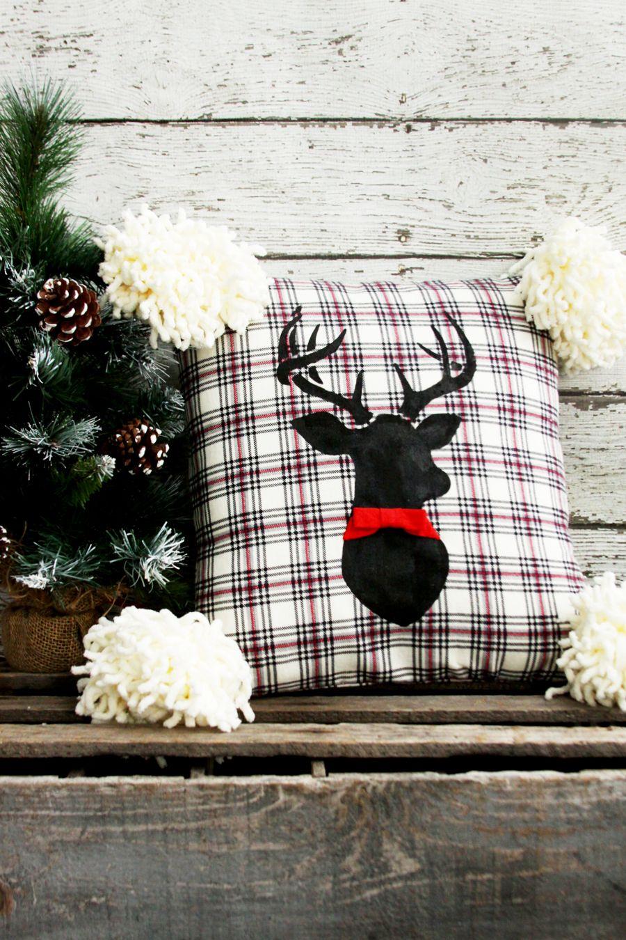 Flannel deer christmas pillow christmaswinter pinterest