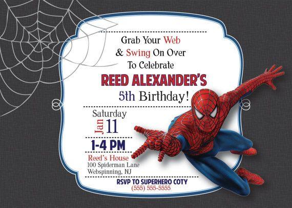 CUSTOM Spiderman Birthday Party Invitations Made To By WordsToArt 1000