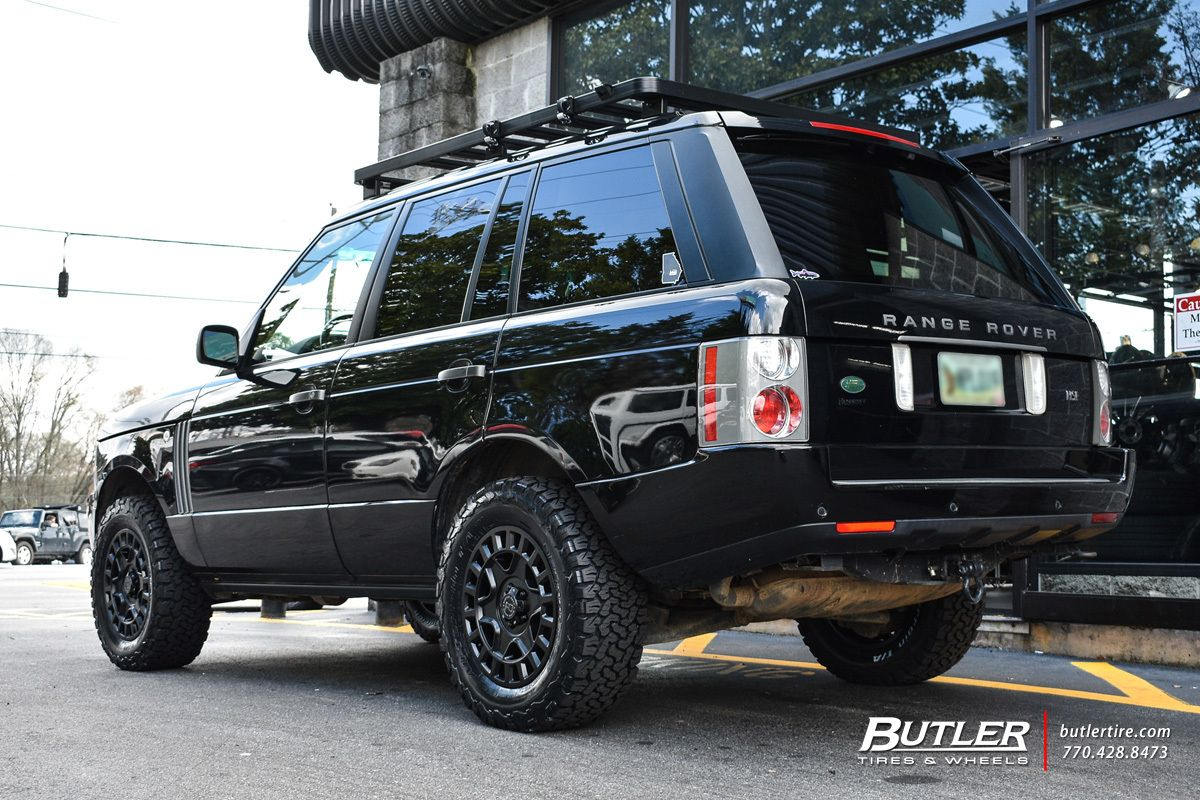 Land Rover Range Rover With 18in Black Rhino York Wheels Exclusively From Butler Tires And Wheels In Atlanta Ga Image In 2020 Range Rover Land Rover Range Rover Hse