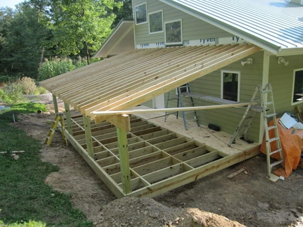Nice roof under deck 2 framing addition shed roof house