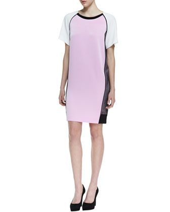 39833ad9a6d Short Sleeve Colorblock Dress with Side Mesh