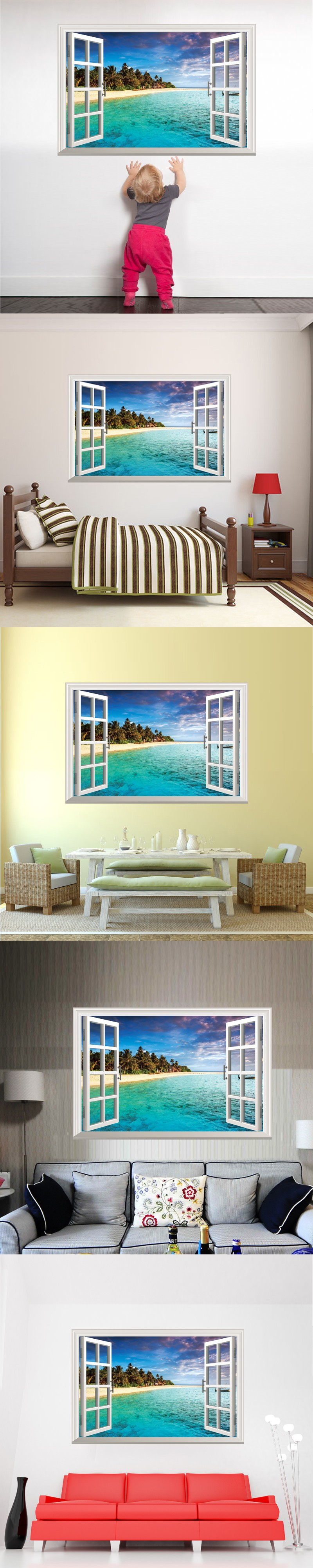 Removable False Window 3D Wall Stickers Creative Wall Art DIY Beach Island Home Decor Decals for Living Room Decoration $10.89