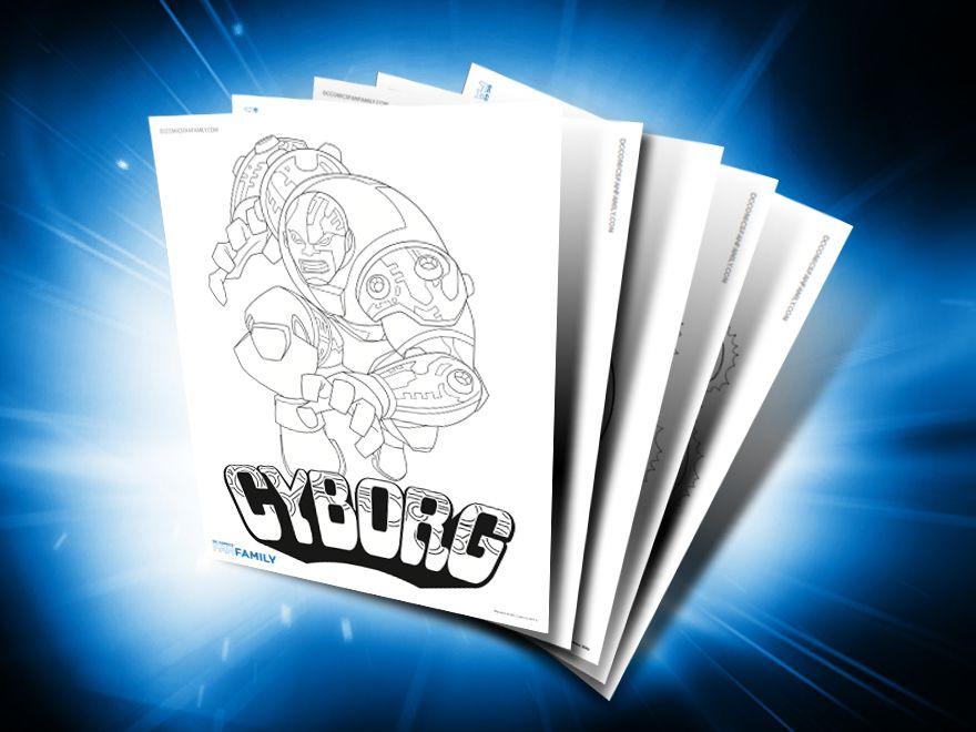 Themed Printables Cyborg Superman Coloring Pages Cyborg Dc Comics Superhero Classroom Theme