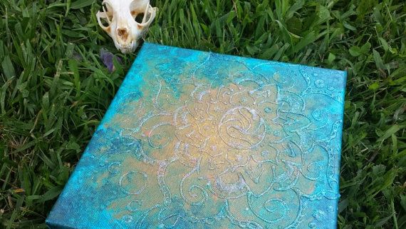SOLD: Henna Diamond Lotus - 8x8 Acrylic Painting on Canvas #boho #witch #pagan #blue #fairy #mehndi #sparkle #newage
