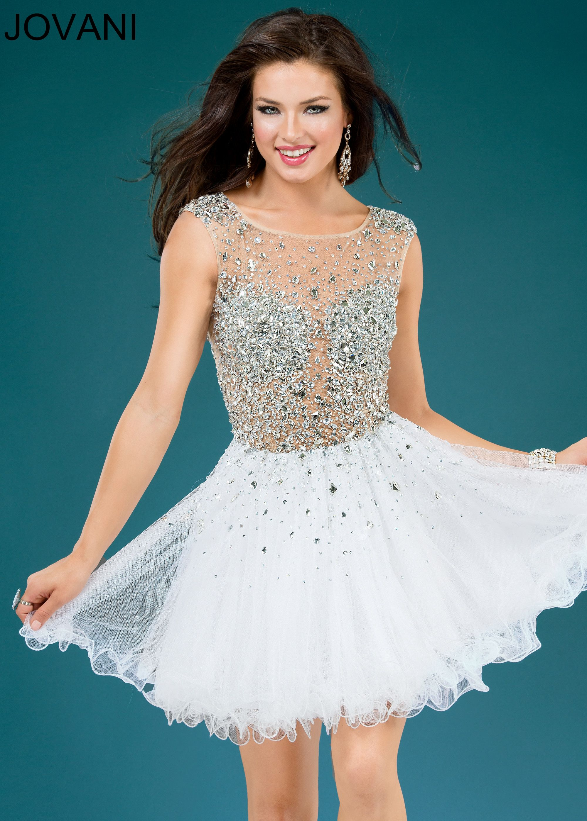 Jovani 79163 - Beaded Sheer White Homecoming Dress | Homecoming ...