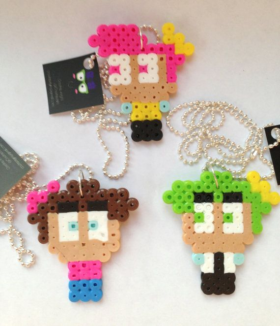 Cute Combo of The Fairly OddParents 3 Necklace Perler Beads by CositasAyM