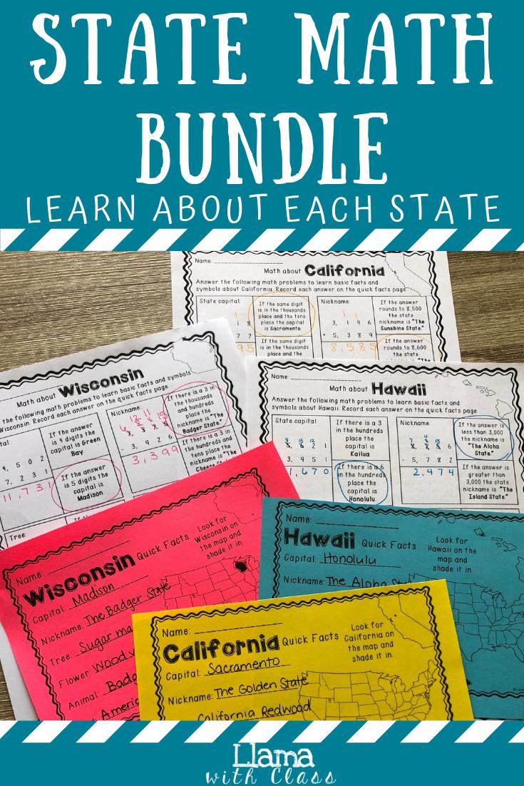 Math About All 50 States Bundle Upper Elementary Math Social Studies Elementary Math [ 1102 x 735 Pixel ]