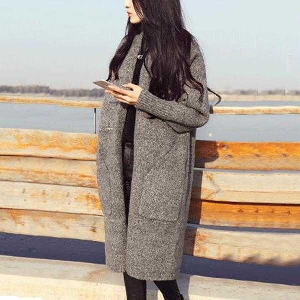 2015 new ladies grey long loose knit Cardigan Pocket sweater coat ...