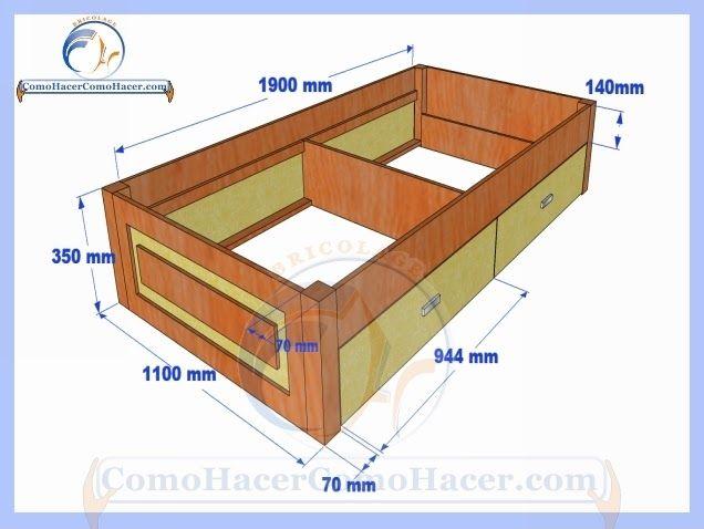 C mo hacer una cama medidas plano gu a construcci n web for Como hacer una cama nido con cajone
