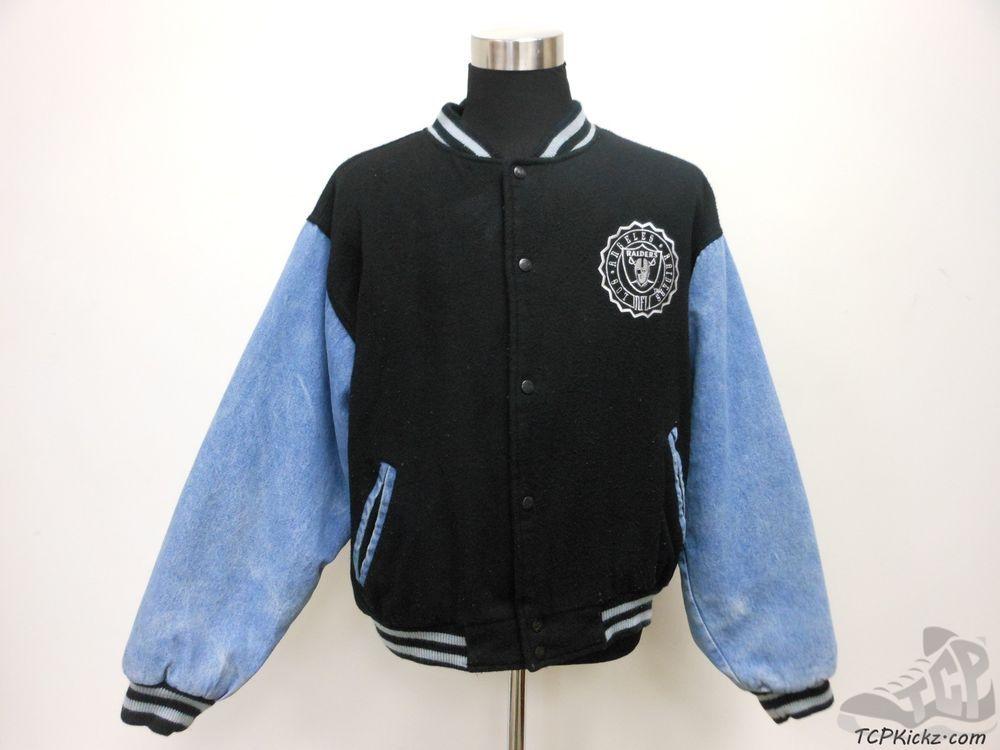 Vtg 90s Logo Athletic Los Angeles Raiders Button Up Varsity Jacket sz M Medium #LogoAthletic #OaklandRaiders  #tcpkickz